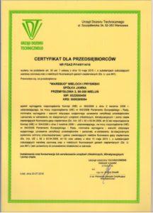 Certyfikat - Urząd Dozoru Technicznego